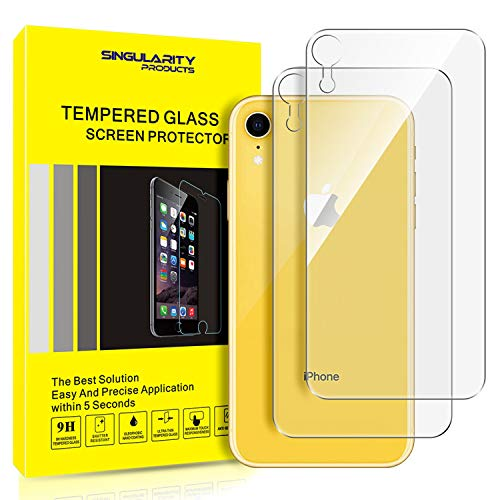 Singularity Products iPhone XR Back Screen Protector [2-Pack], Tempered Glass [3D Touch] Rear Anti-Fingerprint/Scratch Compatible with iPhone XR (6.1 inch)