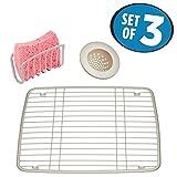 mDesign Kitchen Sink Accessory Set, Sink Grid, Sink Strainer, Sponge Cradle- Set of 3, Satin