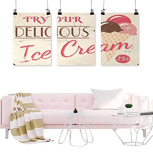 Art Canvas Decor Poster Picture Ice Cream,Try Our Delicious Ice Cream Logo Pop Art Style Advertisement Graphic Print,Pink Cream Umber for The Kitchen Vintage Home