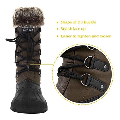 Sibba Snow Boots Impermeabili Allacciate Le Scarpe Invernali In Eco-pelliccia Per Le Donne (nero / Marrone) Marrone