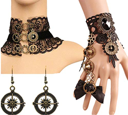 MEiySH Black Lace Gothic Lolita Pendant Choker Necklace Earrings Set (Necklace Earrings Set 008)