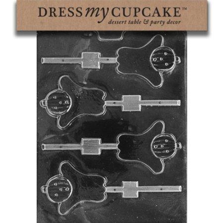 Dress My Cupcake DMCH057 Chocolate Candy Mold, Pumpkin Head Ghost Lollipop, Halloween