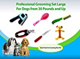 My Pet Boutique Pet Grooming Tools LARGE-Includes 6 Items- Deshedding tool, nail clipper, rasp, flea comb, Professional brush and bear toy. For Dogs from 30 pounds and up