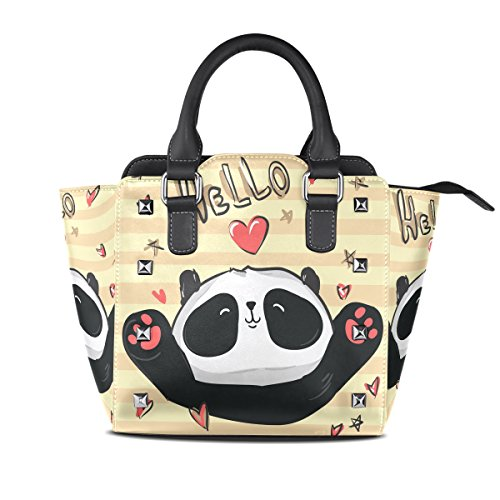 Coosun Borsa A Tracolla In Pelle A Mano Con Manico In Panda