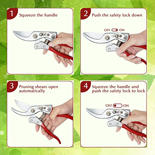 BOBKY Garden Pruning Shears Hand Pruner with Safety Lock Sharp Trimmer Pruners Heavy Duty Cutter Clipper for Garden (Green) by BOBKY (Image #5)