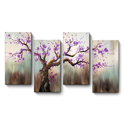 - Crystal Emotion 4 panels Hand Painted Oil Painting,Pink Plum Blossoms Framed and Stretched Exuberant Tree Wall Art Painting for Living Room Home Decor, Ready to Hang
