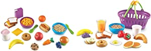Learning Resources New Sprouts Munch It! Pretend Play Food, 20 Pieces, Ages 18 mos+,Multi-Color & Resources New Sprouts Breakfast Foods Basket, Pretend Play, 16 Piece, Ages 18 Mos+