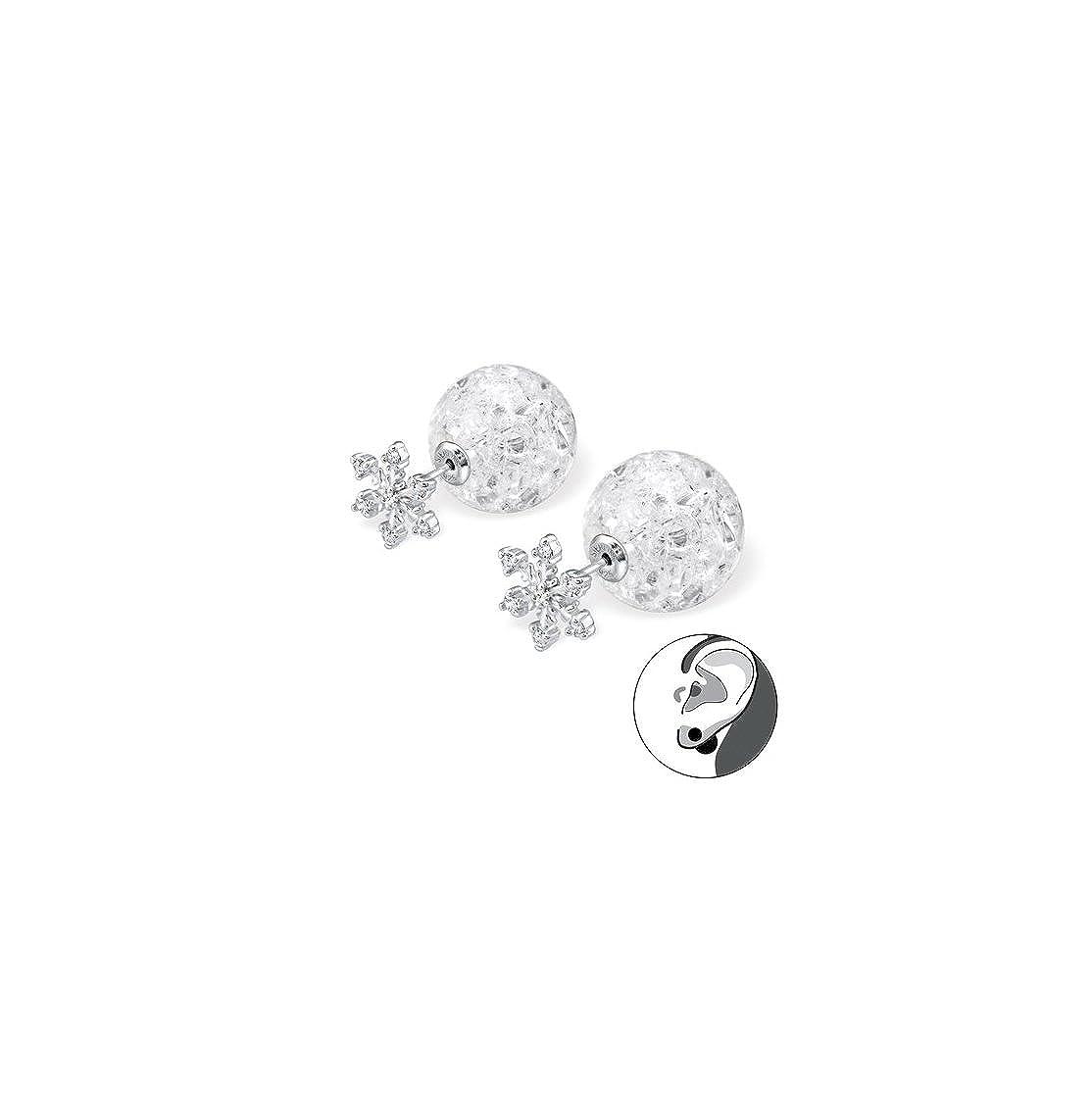 Liara - Flocon de neige avec Boucles d'Oreilles Boule Craquelé e Double Boucles d'Oreilles en Argent Sterling 925. Poli et sans nickel 100-29334-12189