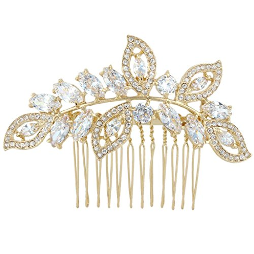 EVER FAITH Gold-Tone CZ Crystal Leaf Wing Bridal Wedding Hair Comb Clear