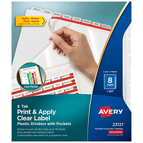 Avery 8-Tab  Plastic Dividers with Pockets, Easy Print & Apply Clear Label Strip, Index Maker, 1 Set (23121)