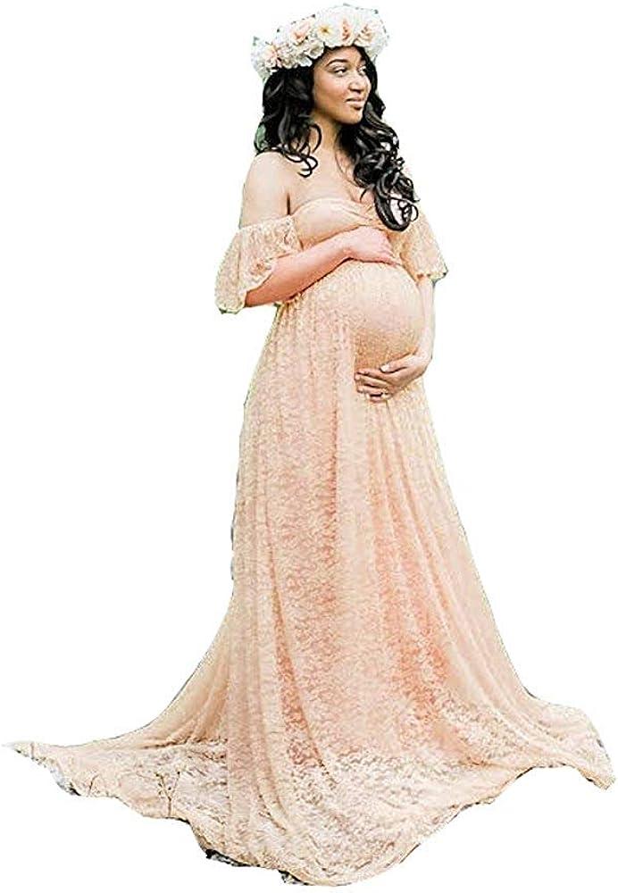 Huixin Damen Spitze Hochzeitskleid F/ür F/ür Schwangere Kleider Elegante Schwangere Foto Shooting Kleid Maxikleider Abschlussball Wedding Umstandsmode Womens