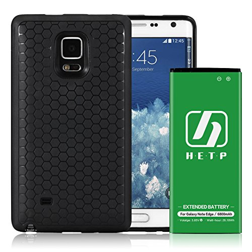 Galaxy Note Edge Extended Battery | HETP [6800mAh] Li-Ion Battery with TPU Full Edge Protective Case & Black Back Cover for Samsung Galaxy Note Edge (Up to 2.6X Extra Battery Power)-18 Month Warranty