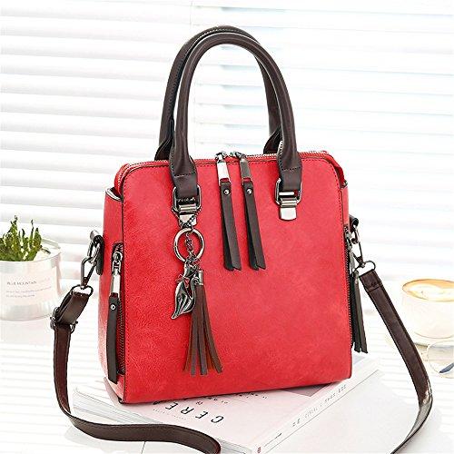 Xuanbao La Bolsa de Asas con Cremallera Doble de Las Mujeres conmutan la Moda Ocasional Hombro Salvaje Messenger Handbag (Color : Marrón) Rojo