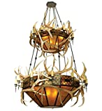 Meyda Tiffany 81332 Elk Antlers Collection 40-Light 2-Tier Chandelier, Authentic Elk Antlers Accent Amber Mica Shades and Antique Copper Finish