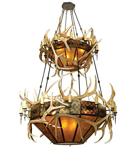 - Meyda Tiffany 81332 Elk Antlers Collection 40-Light 2-Tier Chandelier, Authentic Elk Antlers Accent Amber Mica Shades and Antique Copper Finish, 68