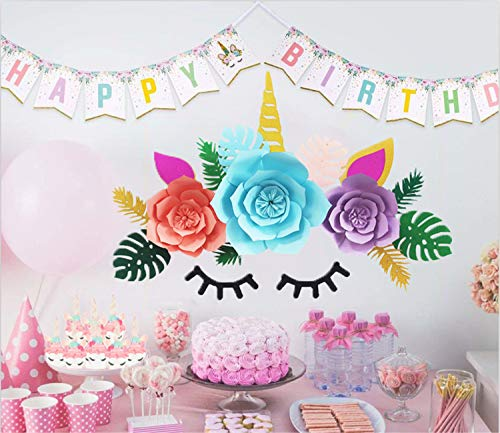 Unicorn Party Decorations Backdrop Set for Girls,Happy Birthday Rainbow Unicorn Bunting Banner and Cupcake Toppers and Wrappers for Unicorn Themed Party Supplies Favors Baby Shower
