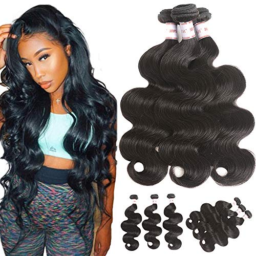 Simei Brazilian Virgin Hair Body Wave 3 Bundles 8A Unprocessed Human Hair Body Wave Weft 300 gram/lot Natural Black Brazilian Body Wave Hair Weave(12 14 ()