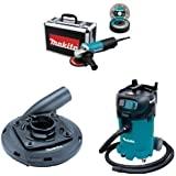 Makita 9557PBX1 4 1/2 Inch Cut Off/Angle Grinder, 195236 5 4 1/2 Inch 5 Inch Surface Grinding Shroud, VC4710 12 Gallon Xtract Vac Wet/Dry Dust Extractor/Vacuum