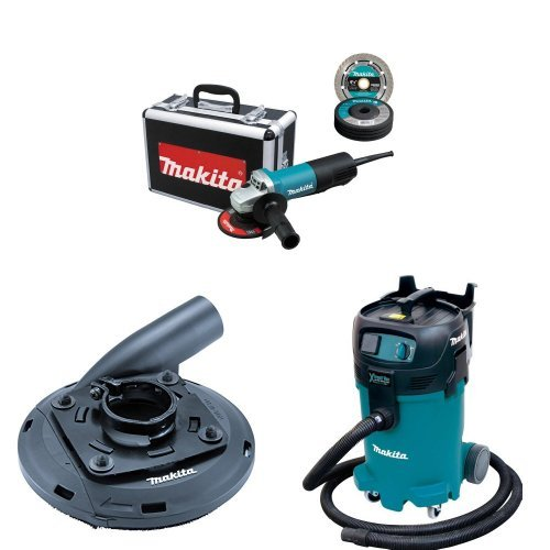 Makita 9557PBX1 4-1/2-Inch Cut-Off/Angle Grinder, 195236-5 4-1/2-Inch - 5-Inch Surface Grinding Shroud, VC4710 12 Gallon Xtract Vac Wet/Dry Dust Extractor/Vacuum