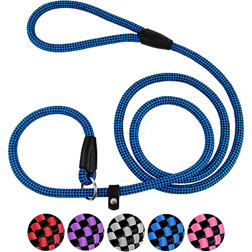 CollarDirect Rope Slip Lead for Small Medium Large Dogs - 6 ft Long - Strong Training Dog Lead, Braided Pets Slip Leash Pink Grey Purple Red Blue Black ()