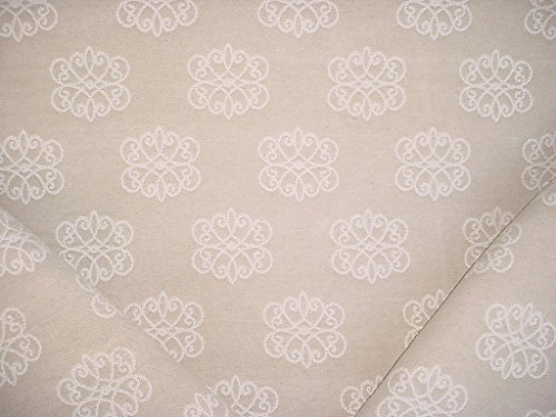 142RT11 - Soft White / Beige Floral Medallion Scroll Ikat Kilim Designer Upholstery Drapery Fabric - By the Yard