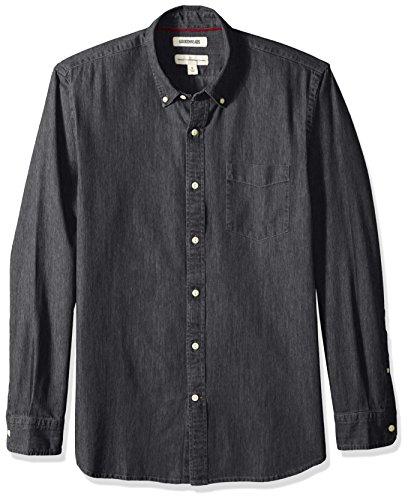 (Goodthreads Men's Standard-Fit Long-Sleeve Denim Shirt, Washed Black, Large)