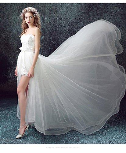 Beauty-Emily Capilla de tren de encaje sin tirantes encaje vestido de novia Blanco