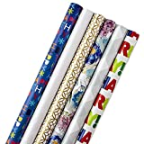 Hallmark All Occasion Wrapping Paper Bundle with Cut Lines on Reverse (Pack of 6, 180 sq. ft. ttl.) Happy Birthday, Polka Dots, Holidays, Weddings and Everyday Celebrations