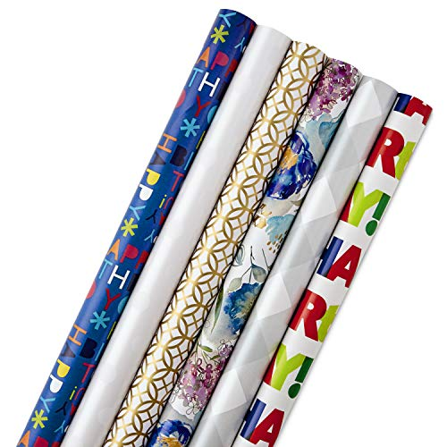 Hallmark All Occasion Wrapping Paper Bundle with Cut Lines on Reverse, Solids & Patterns-Birthday, Holiday, Wedding (Pack of 6, 180 sq. ft. ()