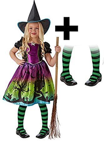 Wicked Witch + Tights Girls Halloween Fancy Dress Rainbow ...