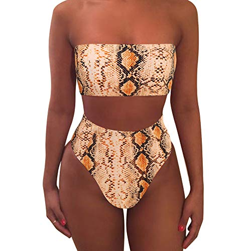 - MOOSLOVER Women's Bandeau Bikini Leopard Print High Cut Strapless High Waist Bathing Suit(XL,Orange)