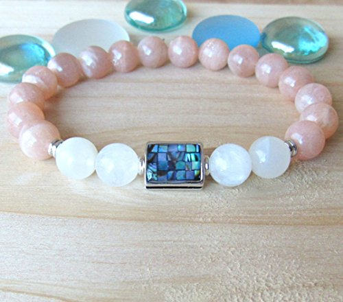 Moonstone bracelet with Abalone Guru bead, white and peach moonstone, High quality beaded bracelet, Inner Growth and strengh