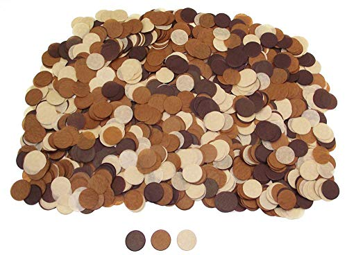 1 Inch Round Tissue Paper Confetti Circles - 2.8oz - 10,000 Pieces/Pack (Brown)