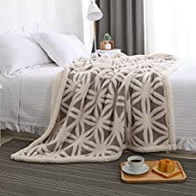 """Jacquard Knitted Blanket Super Soft and Warm Sherpa Fleece Back Throw by Soffte Cloud£¨51¡°x63"""",Gray,Weight:2.4LB)"""