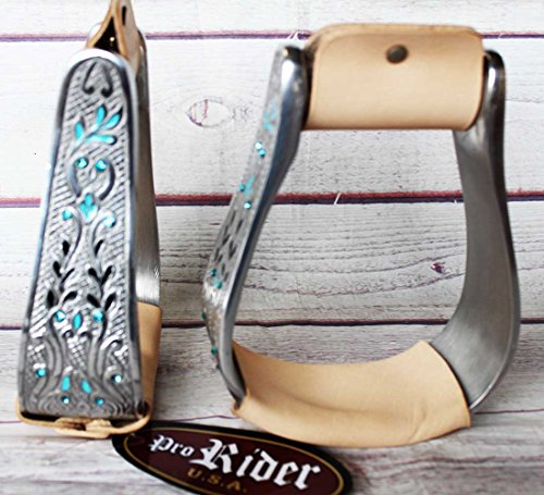 PRORIDER Western Horse Saddle Stirrups Aluminum Leather Engraved Bling Stirrup 51105 ()