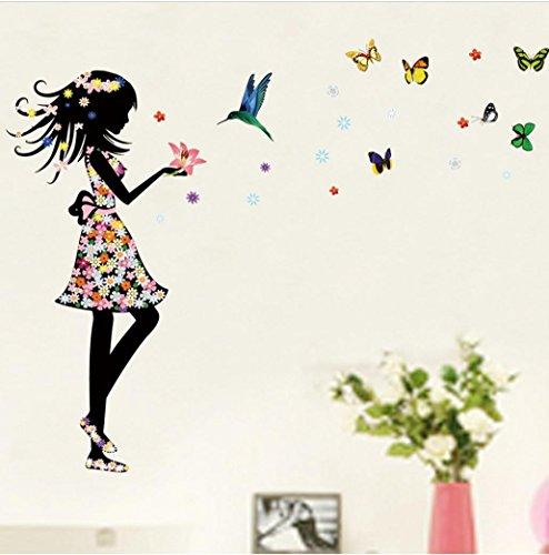Beautiful girl flowers butterfly diy wall sticker oksale for Eminem wall mural