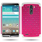 CoverON® for LG G3 Diamond Rhinestone Bling [Aurora Series] Heavy Duty Hard Hybrid Tough Phone Cover Case - (Rose Pink / White)