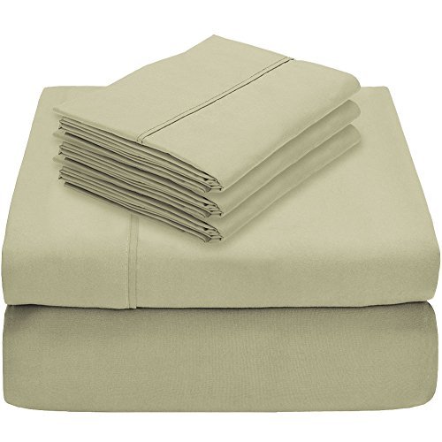 Bare Home 5 Piece 1800 Collection Deep Pocket Bed Sheet Set - Ultra-Soft Hypoallergenic - 2 Extra Pillow Cases (Twin, Sage)