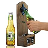 INART Vintage Wall Mounted Wooden Bottle Opener with Cap Catcher, Ideal Gift for Men and Beer Lovers For Sale