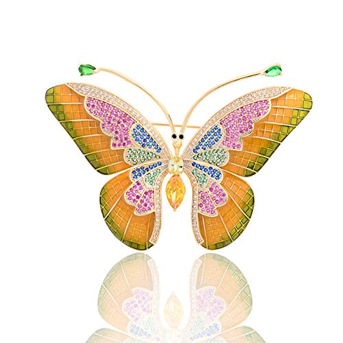 OBONNIE Multicolor Rhinestone Crystal Enamel Winged Monarch Butterfly Brooch Pin Corsage Insect Jewelry ()