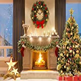 8x8ft Microfiber Christmas Photography Backdrops Fireplace Garland Seamless Photo Booth Prop Gold Star Bell Christmas Tree Background for Photo Studio