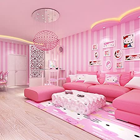 LFNRR High quality Modern and simple Korean striped wallpaper pink ...