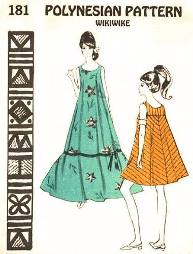 Polynesian Pattern 181 Vintage Hawaiian Wikiwiki Dress, 1970s