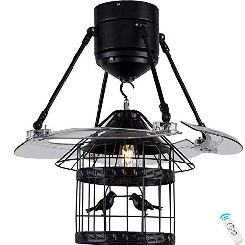 (Boyi Ceiling Fan with Light Lamp 122cm ABS Invisible Mute Ceiling Fan E271 Birdcage Remote)