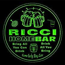 4x ccq37469-g RICCI Family Name Home Bar Pub Beer Club Gift 3D Engraved Coasters
