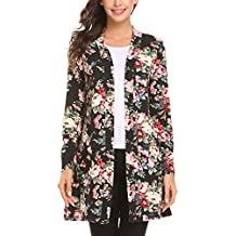 Misakia Women's Long Sleeve Open Front Floral Slim Fit Casual Cardigan With Pocket