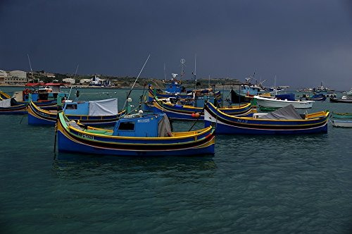 (Home Comforts Canvas Print Masaxlokk Boats Squall Line Port Malta Stretched Canvas 10 x 14)