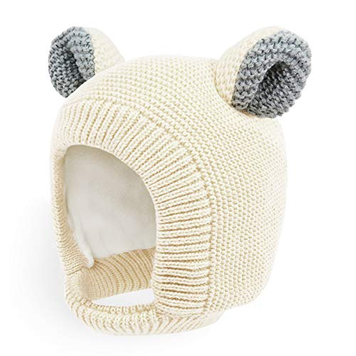(Happy Tree Toddler Winter Hat Warm Thick Knitted Fleece Lined Kids Baby Beanie Hat Cute Bear Knit Earflap Hood, Beige)