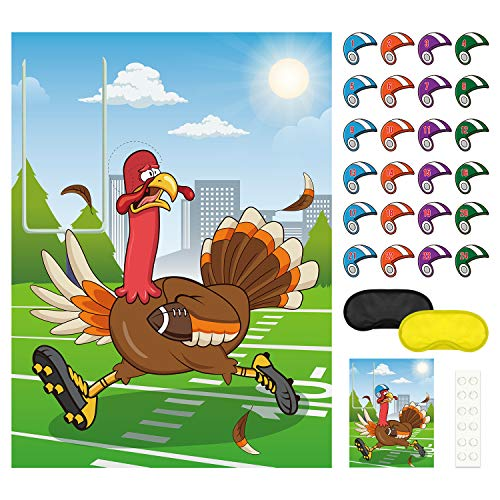 FEPITO Pin The Hat on The Turkey Thanksgiving Games Festive Fall Party Activities for Thanksgiving Party Favors (Best Games For Thanksgiving)