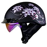 Voss 888FRP Matte Black Sakura Pink Ribbon Half Helmet with Integrated Sun Lens Metal Quick Release and New Pink Iridium Sun Lens- M - Matte Black/Pink